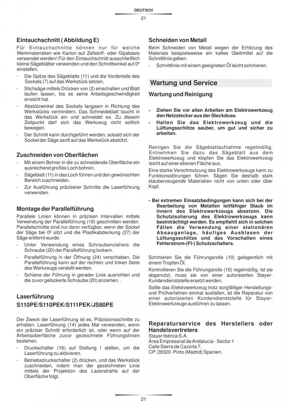 Pagina 26 - Fierastraie electrice - Manual utilizare STAYER S 110PE, JS 80 PE Instructiuni montaj,...