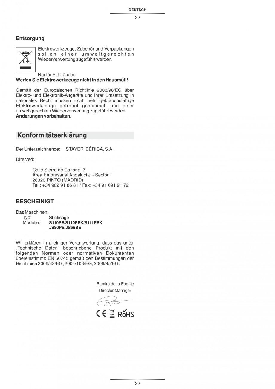 Pagina 27 - Fierastraie electrice - Manual utilizare STAYER S 110PE, JS 80 PE Instructiuni montaj,...