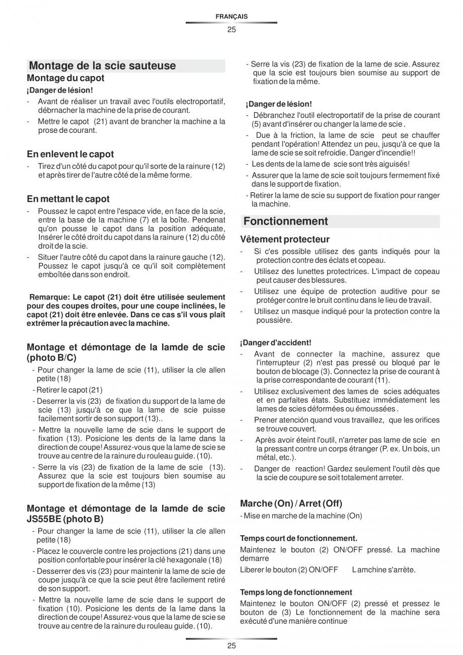Pagina 30 - Fierastraie electrice - Manual utilizare STAYER S 110PE, JS 80 PE Instructiuni montaj,...
