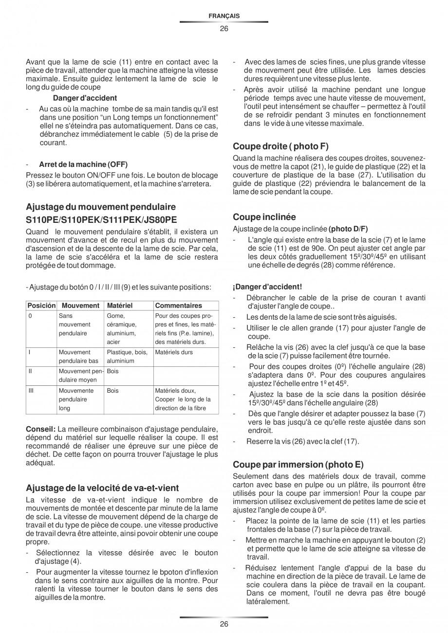 Pagina 31 - Fierastraie electrice - Manual utilizare STAYER S 110PE, JS 80 PE Instructiuni montaj,...