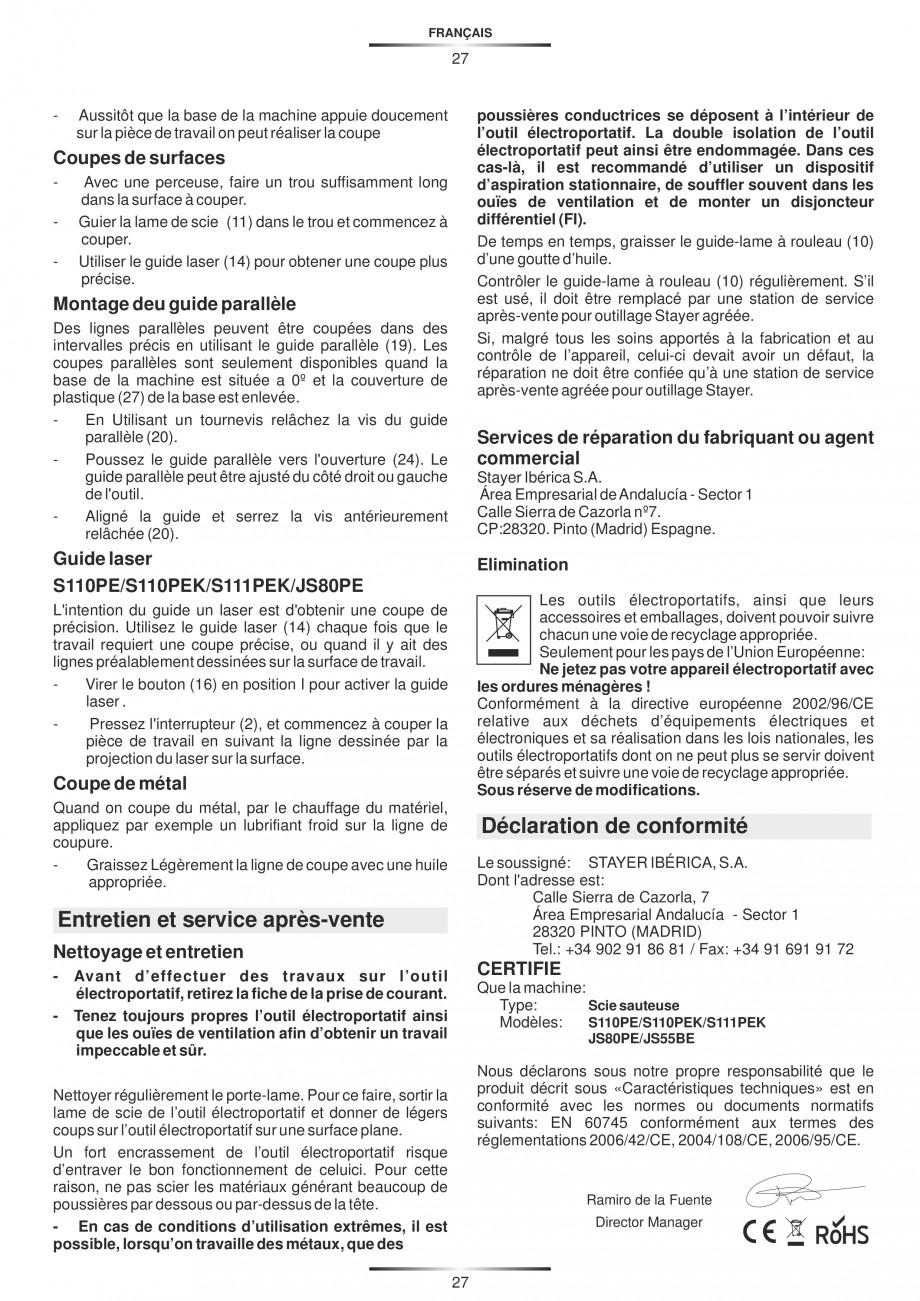Pagina 32 - Fierastraie electrice - Manual utilizare STAYER S 110PE, JS 80 PE Instructiuni montaj,...