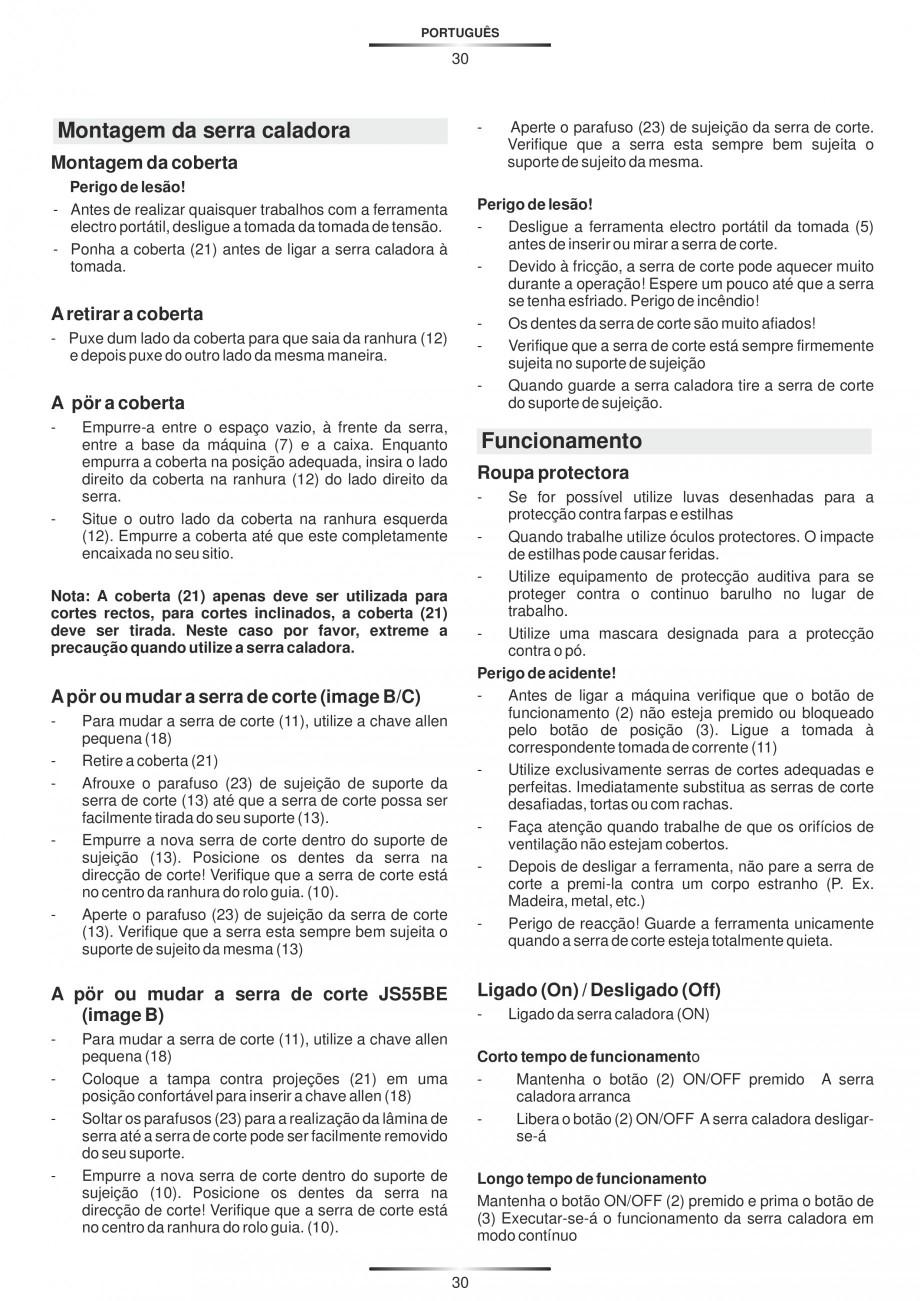 Pagina 35 - Fierastraie electrice - Manual utilizare STAYER S 110PE, JS 80 PE Instructiuni montaj,...