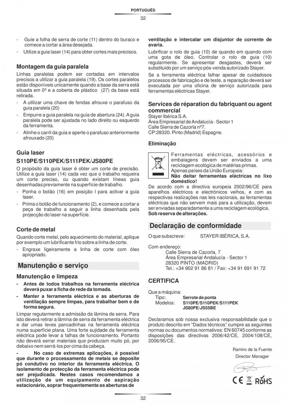 Pagina 37 - Fierastraie electrice - Manual utilizare STAYER S 110PE, JS 80 PE Instructiuni montaj,...