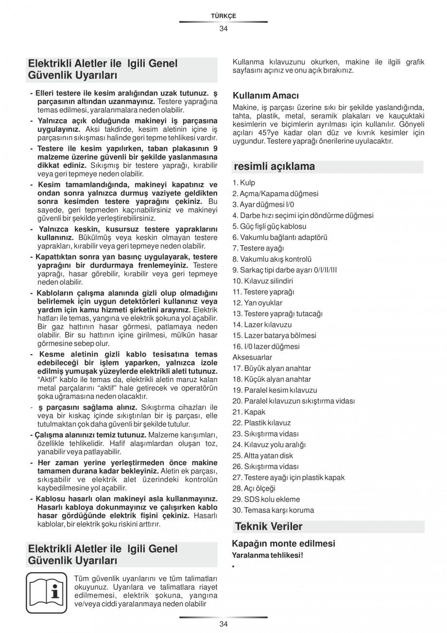 Pagina 39 - Fierastraie electrice - Manual utilizare STAYER S 110PE, JS 80 PE Instructiuni montaj,...