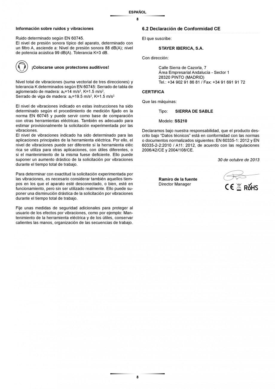 Pagina 8 - Fierastrau sabie 850 W - Manual utilizare STAYER SS 210  Instructiuni montaj, utilizare...