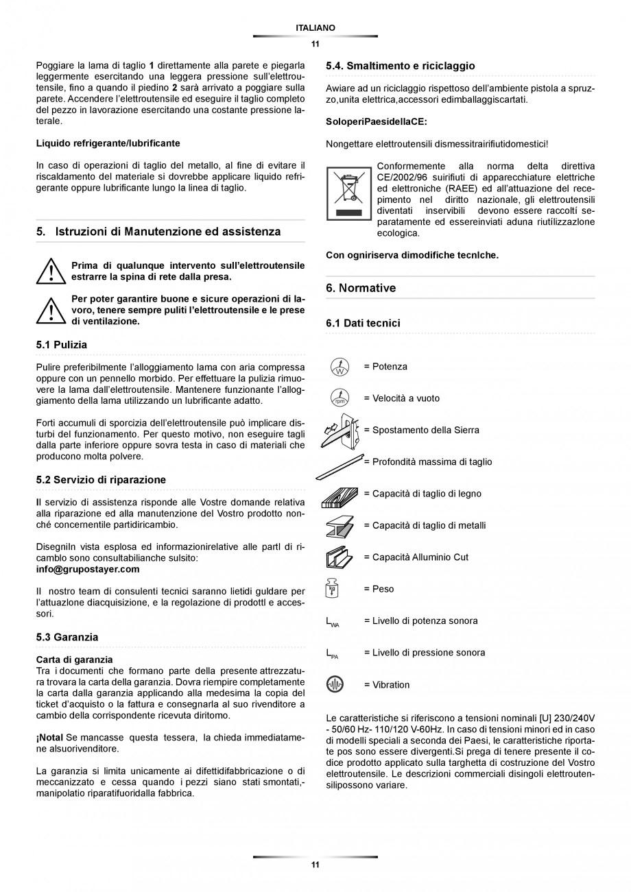 Pagina 11 - Fierastrau sabie 850 W - Manual utilizare STAYER SS 210  Instructiuni montaj, utilizare ...