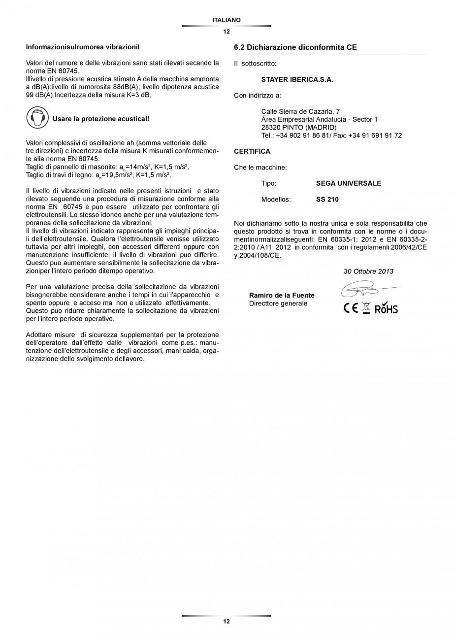 Pagina 12 - Fierastrau sabie 850 W - Manual utilizare STAYER SS 210  Instructiuni montaj, utilizare ...