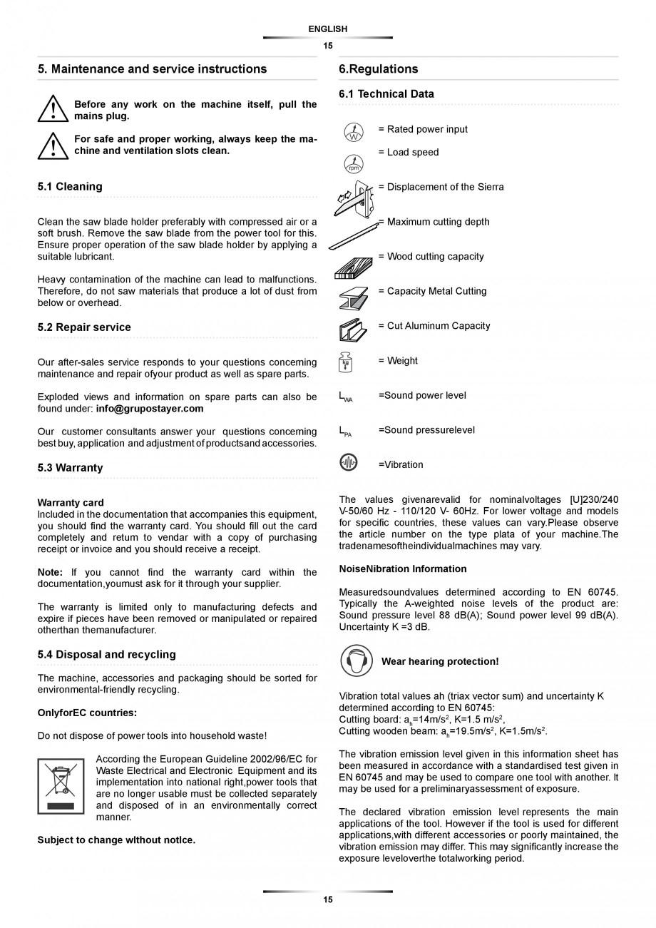 Pagina 15 - Fierastrau sabie 850 W - Manual utilizare STAYER SS 210  Instructiuni montaj, utilizare ...