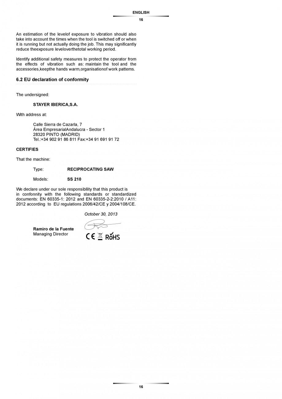 Pagina 16 - Fierastrau sabie 850 W - Manual utilizare STAYER SS 210  Instructiuni montaj, utilizare ...