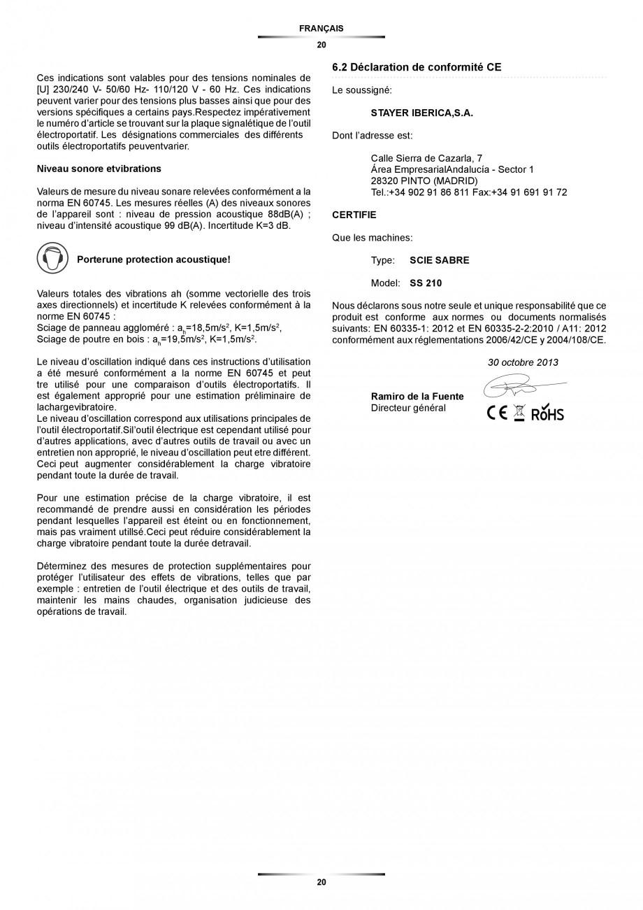 Pagina 20 - Fierastrau sabie 850 W - Manual utilizare STAYER SS 210  Instructiuni montaj, utilizare ...