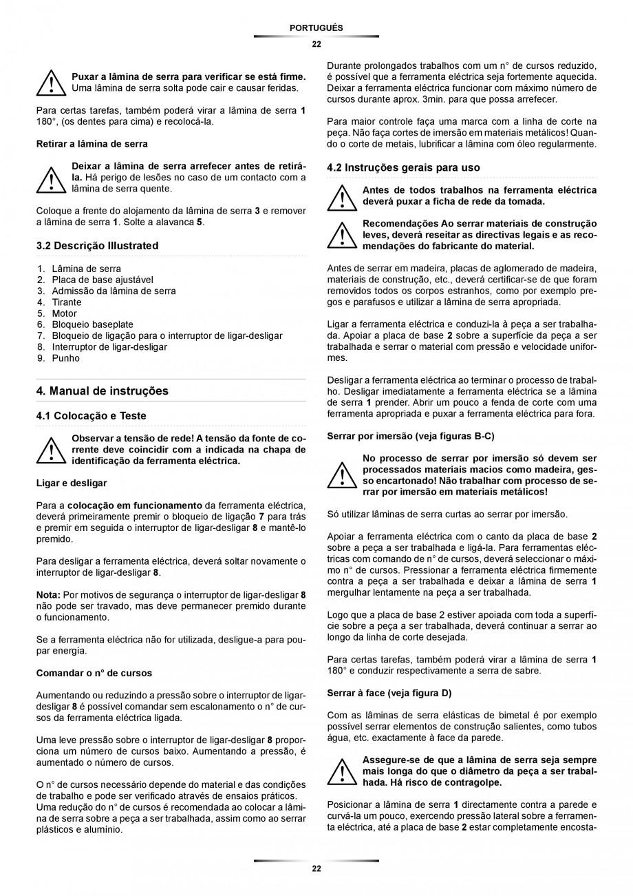 Pagina 22 - Fierastrau sabie 850 W - Manual utilizare STAYER SS 210  Instructiuni montaj, utilizare ...