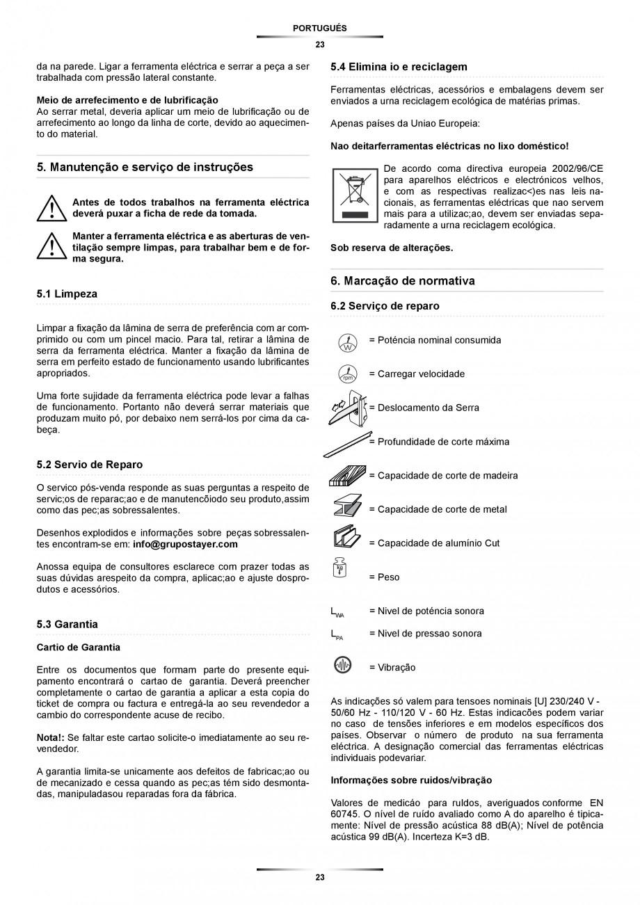 Pagina 23 - Fierastrau sabie 850 W - Manual utilizare STAYER SS 210  Instructiuni montaj, utilizare ...
