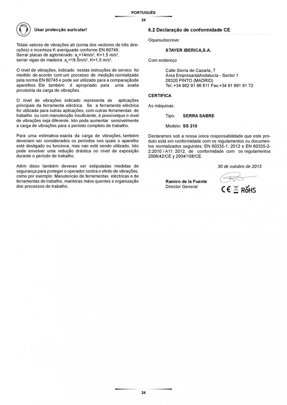 Pagina 24 - Fierastrau sabie 850 W - Manual utilizare STAYER SS 210  Instructiuni montaj, utilizare ...