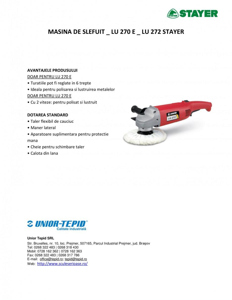 Pagina 1 - Masina de slefuit STAYER LU 270 E - LU 272 Fisa tehnica Romana MASINA DE SLEFUIT _ LU 270...