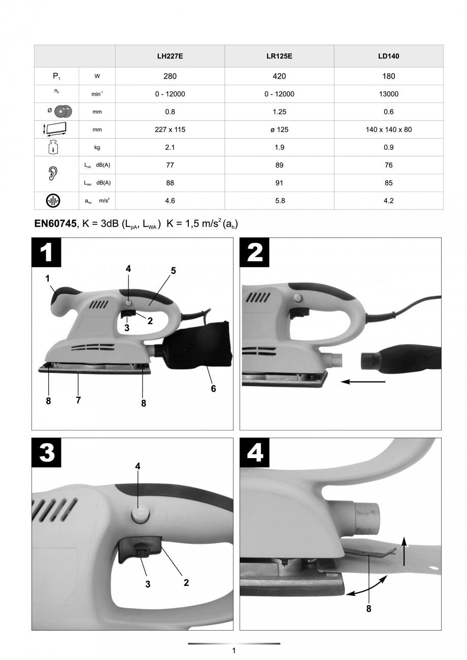 Pagina 2 - Slefuitor Delta 180 W - Manual STAYER LD 140 Instructiuni montaj, utilizare Engleza,...