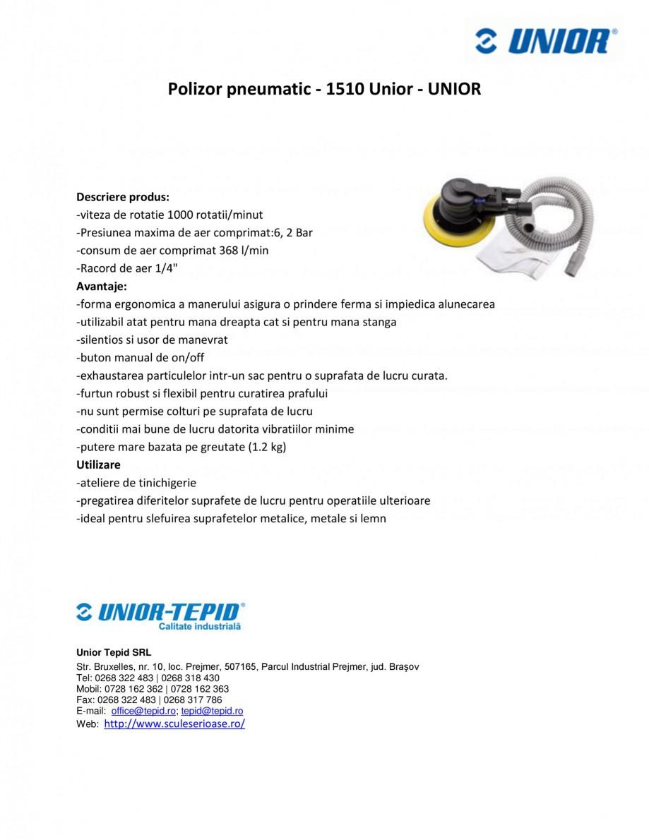 Pagina 1 - Polizor pneumatic UNIOR 1510 Fisa tehnica Romana Polizor pneumatic - 1510 Unior - UNIOR  ...