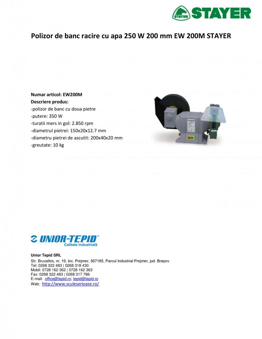 Pagina 1 - Polizor de banc racire cu apa 250 W 200 mm STAYER EW 200 M Fisa tehnica Romana Polizor de...