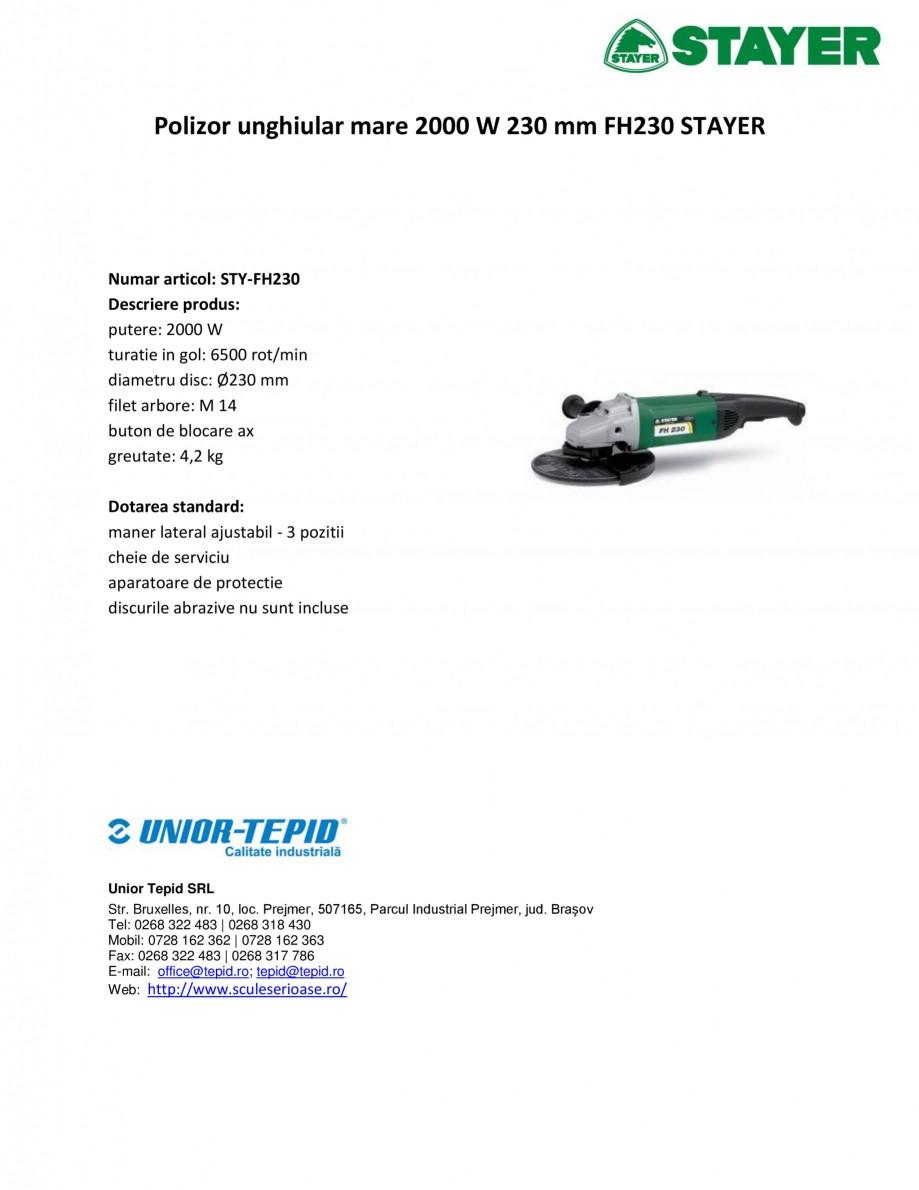 Pagina 1 - Polizor unghiular mare 2000 W 230 mm STAYER FH230 Fisa tehnica Romana Polizor unghiular...