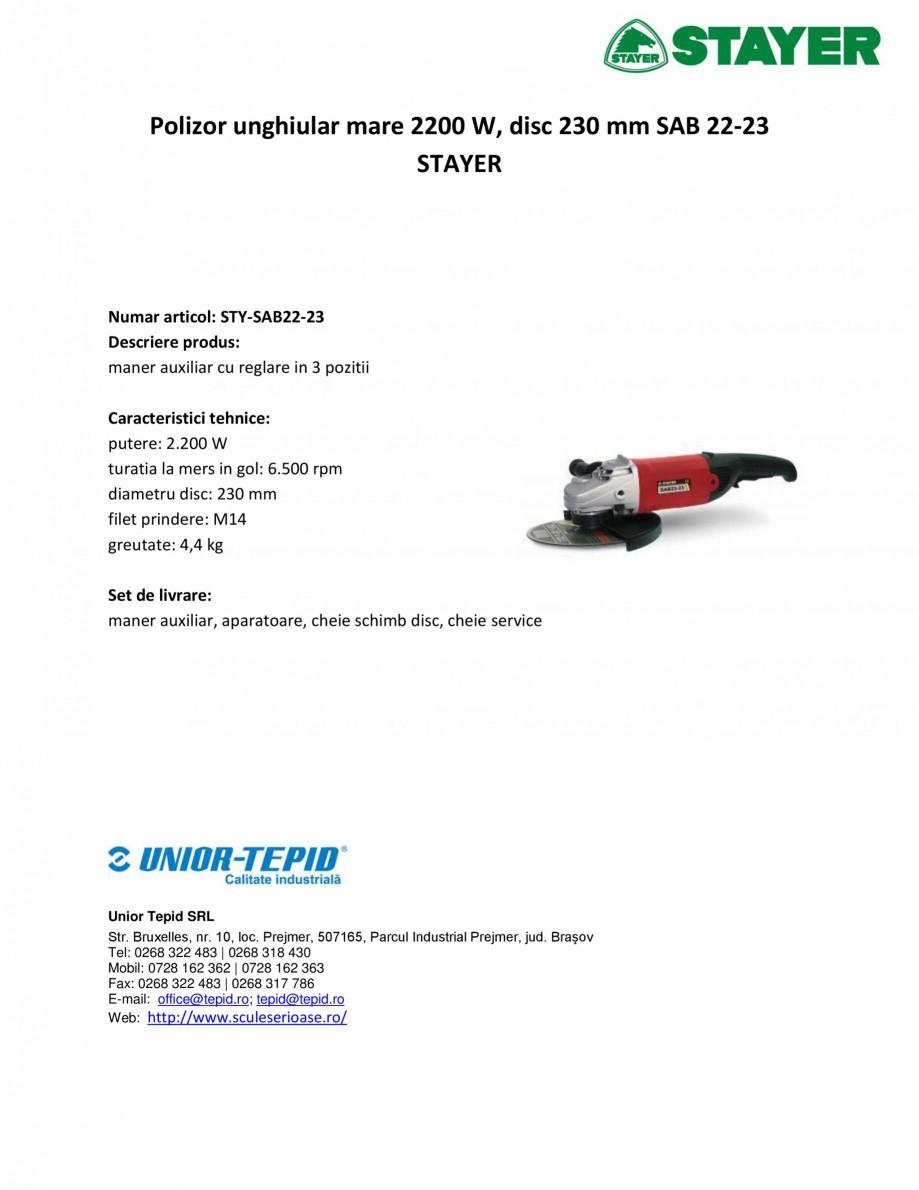 Pagina 1 - Polizor unghiular mare 2200 W, disc 230 mm STAYER SAB 22-23 Fisa tehnica Romana Polizor...