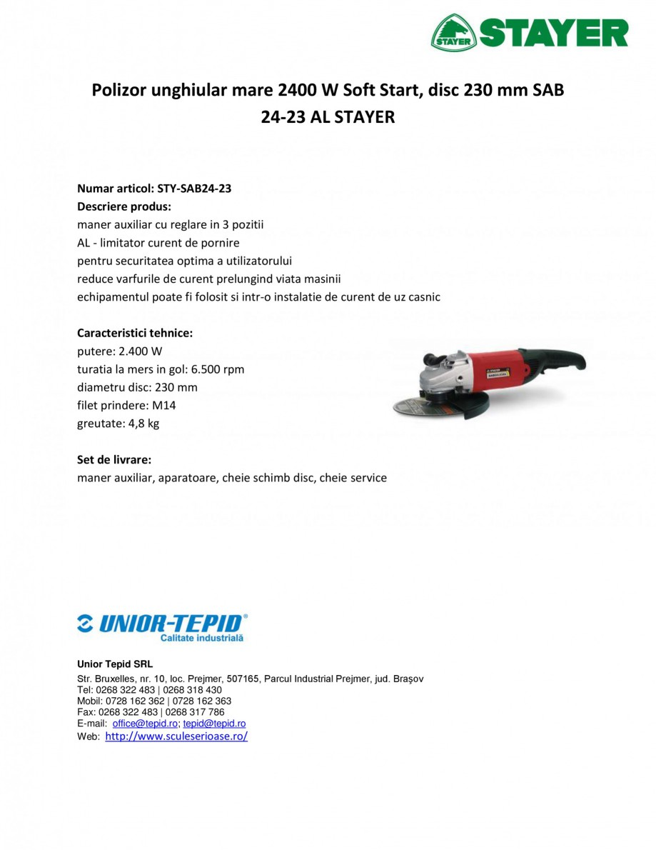 Pagina 1 - Polizor unghiular mare 2400 W Soft Start, disc 230 mm STAYER SAB 24-23 AL Fisa tehnica...