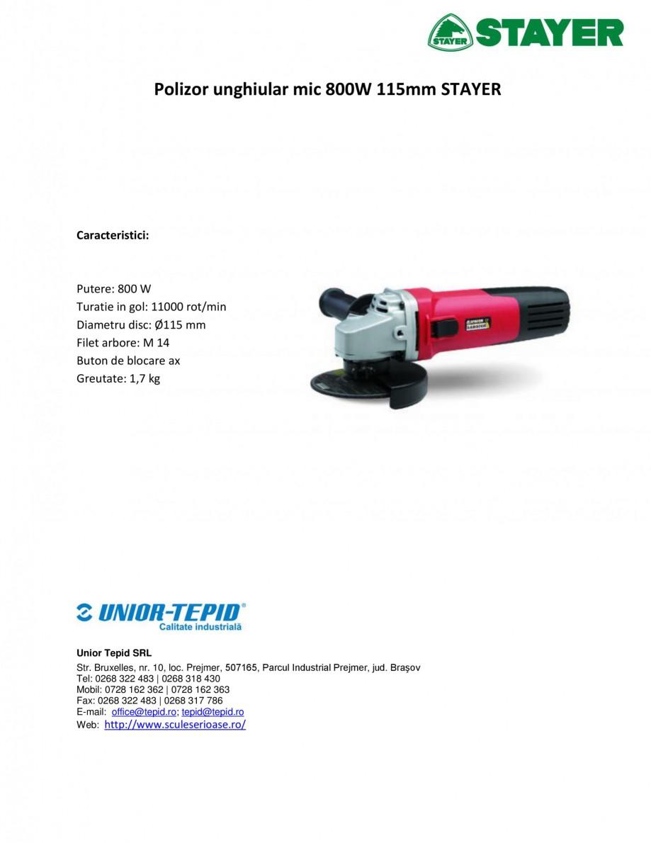 Pagina 1 - Polizor unghiular mic 800W 115mm STAYER SAB 800 Fisa tehnica Romana Polizor unghiular mic...