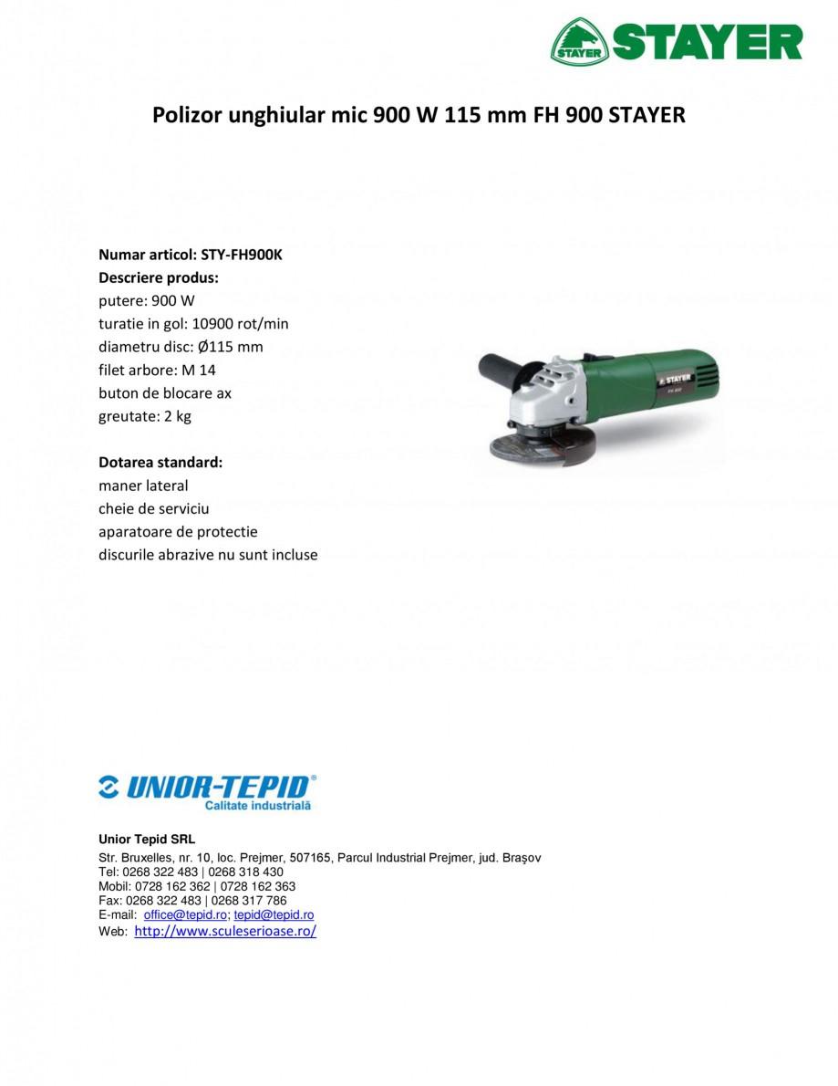 Pagina 1 - Polizor unghiular mic 900 W 115 mm STAYER FH 900 Fisa tehnica Romana Polizor unghiular...