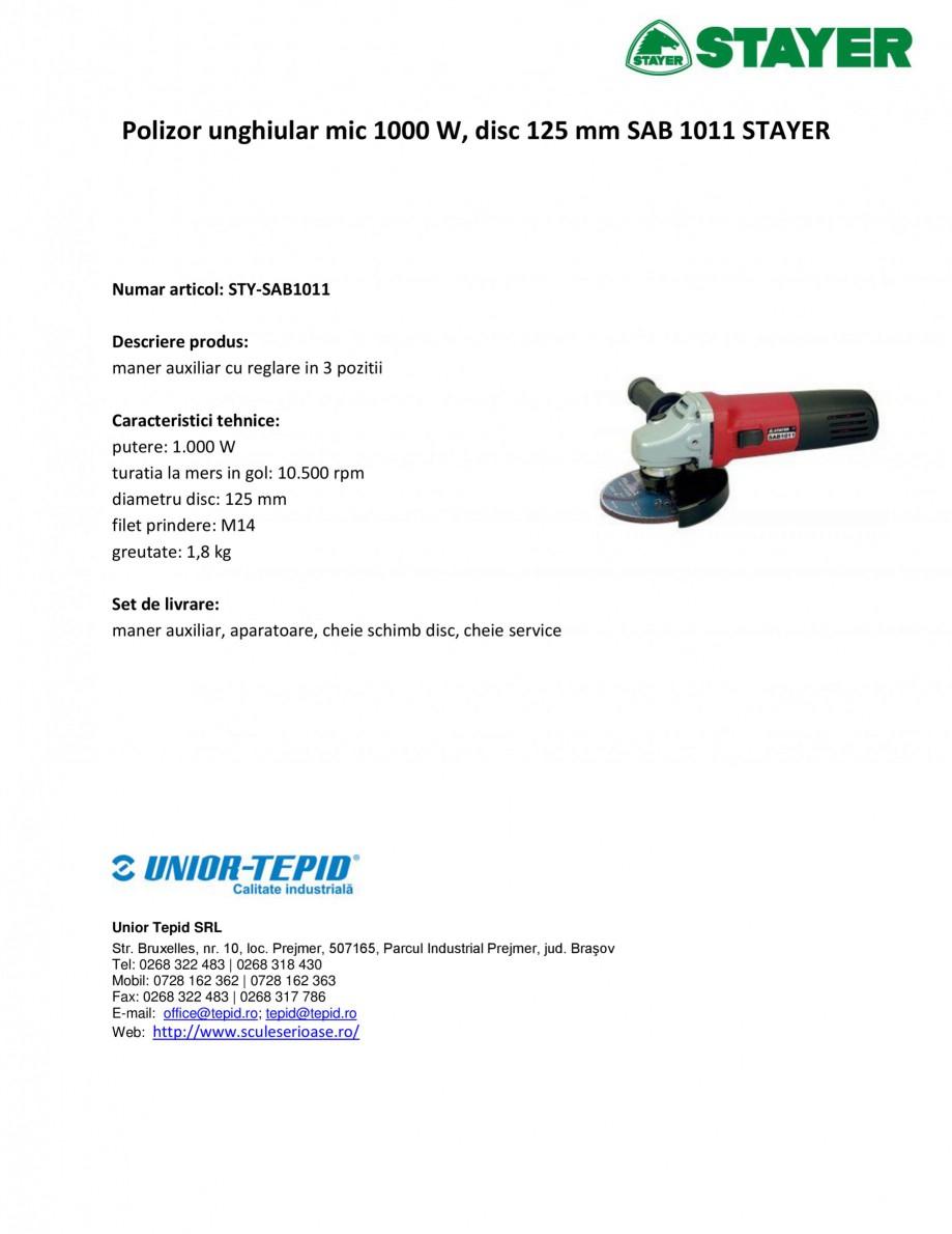 Pagina 1 - Polizor unghiular mic 1000 W, disc 125 mm STAYER SAB 1011 Fisa tehnica Romana Polizor...