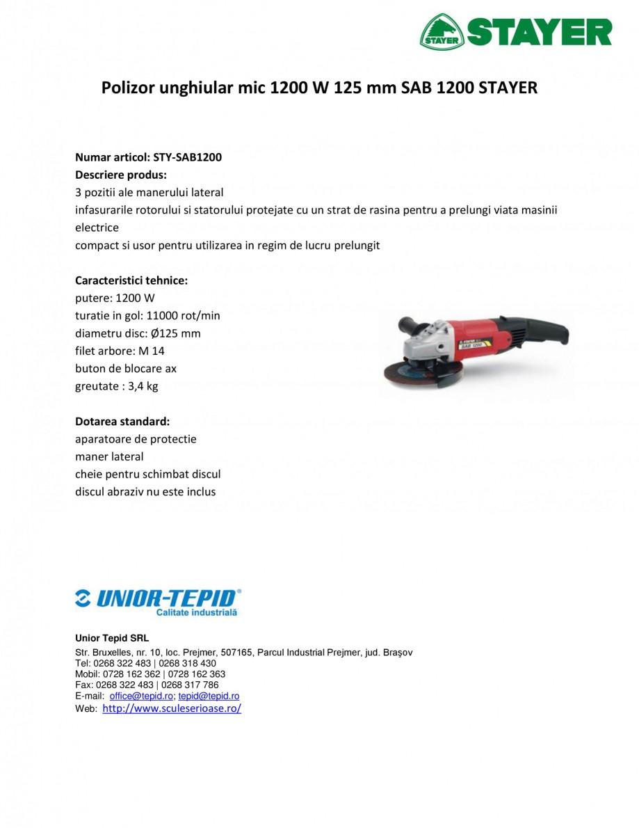 Pagina 1 - Polizor unghiular mic 1200 W 125 mm SAB STAYER SAB 1200 Fisa tehnica Romana Polizor...