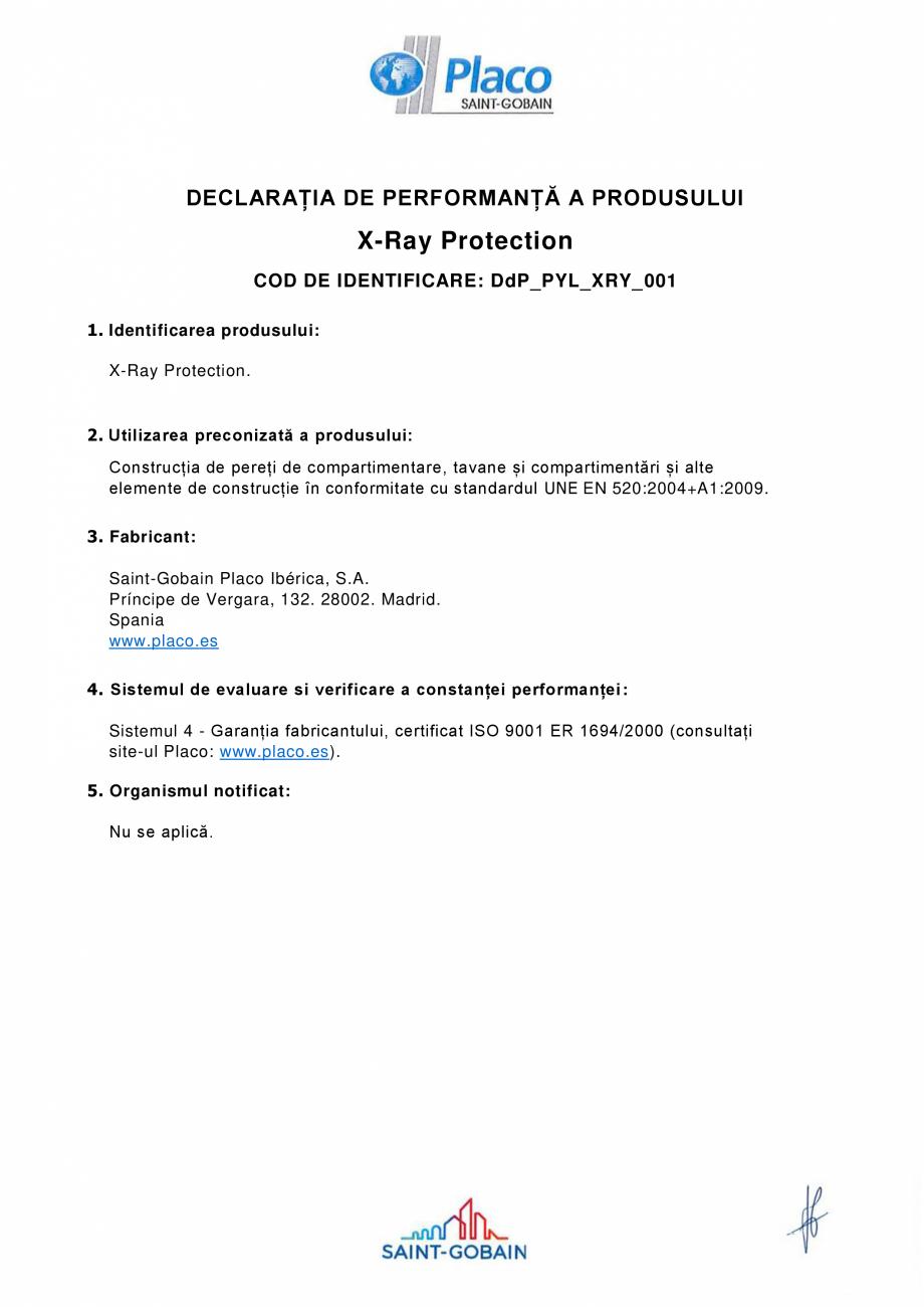 Pagina 1 - Declaratie de performanta pentru placa speciala pentru protectia impotriva radiatiilor...
