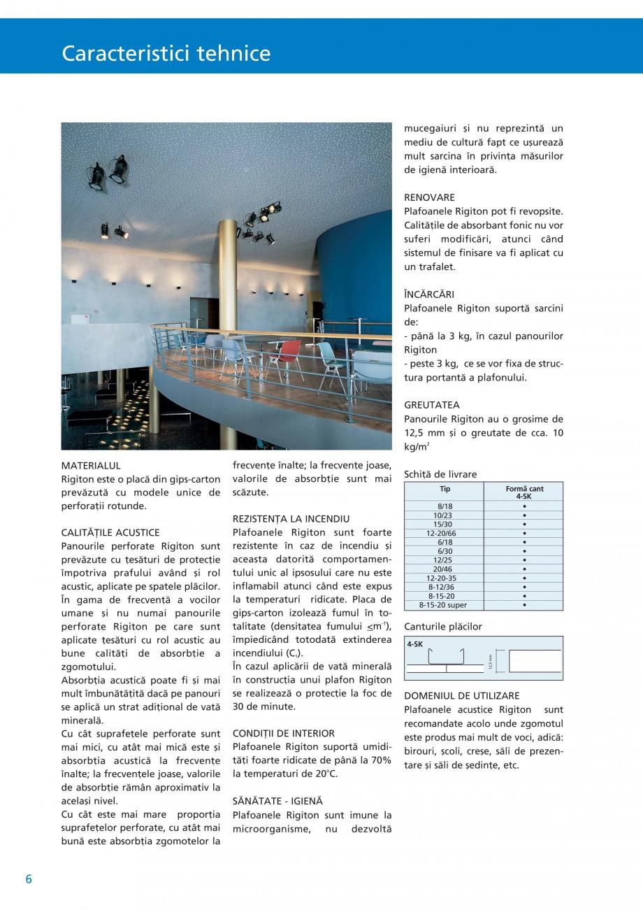 Pagina 7 - Plafoane acustice Saint-Gobain Rigips Rigiton Catalog, brosura Romana 2% Greutate:...
