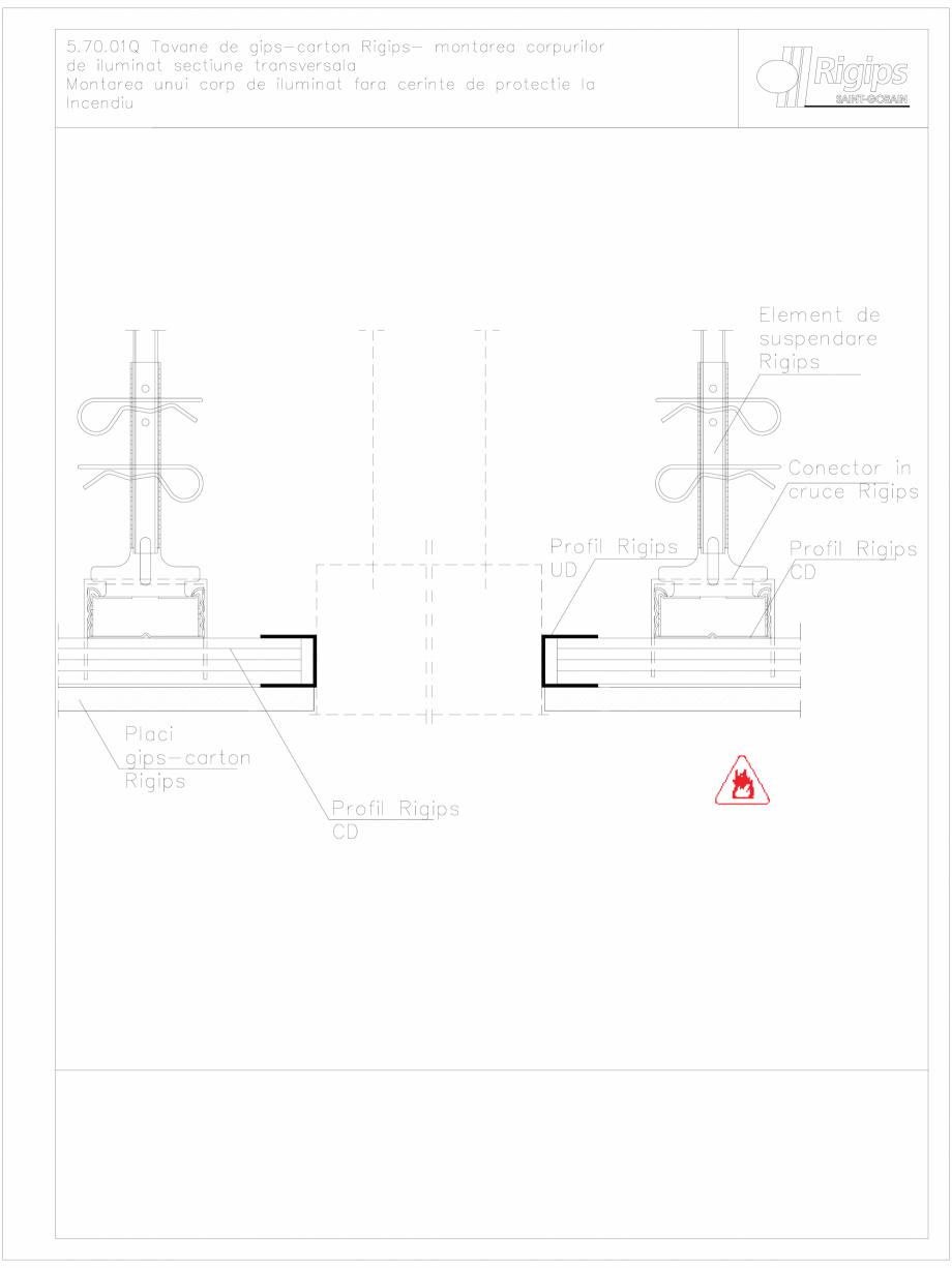 Pagina 1 - CAD-DWG Plafoane false de gips-carton Rigips - montarea corpurilor de iluminat 5.70.01Q...