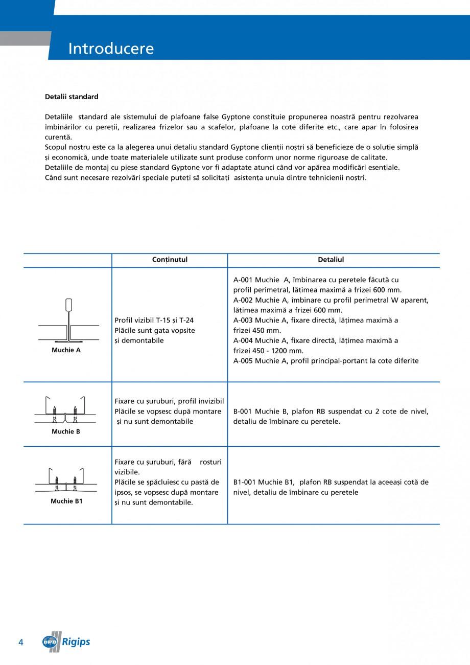 Pagina 4 - Detalii de montaj pentru plafoane casetate Saint-Gobain Rigips Gyptone Instructiuni...