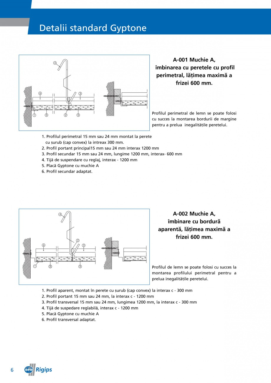 Pagina 6 - Detalii de montaj pentru plafoane casetate Saint-Gobain Rigips Gyptone Instructiuni...