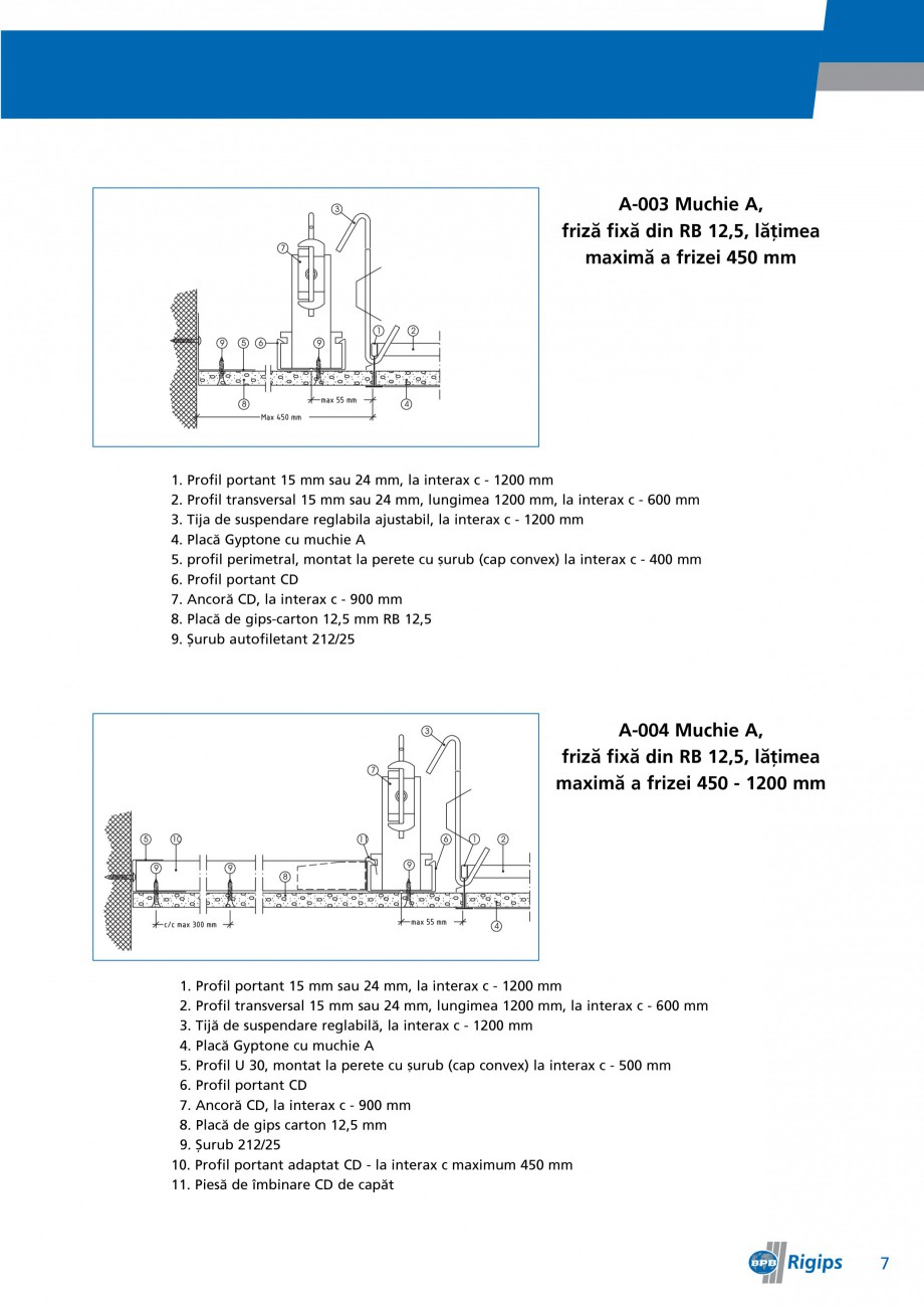 Pagina 7 - Detalii de montaj pentru plafoane casetate Saint-Gobain Rigips Gyptone Instructiuni...