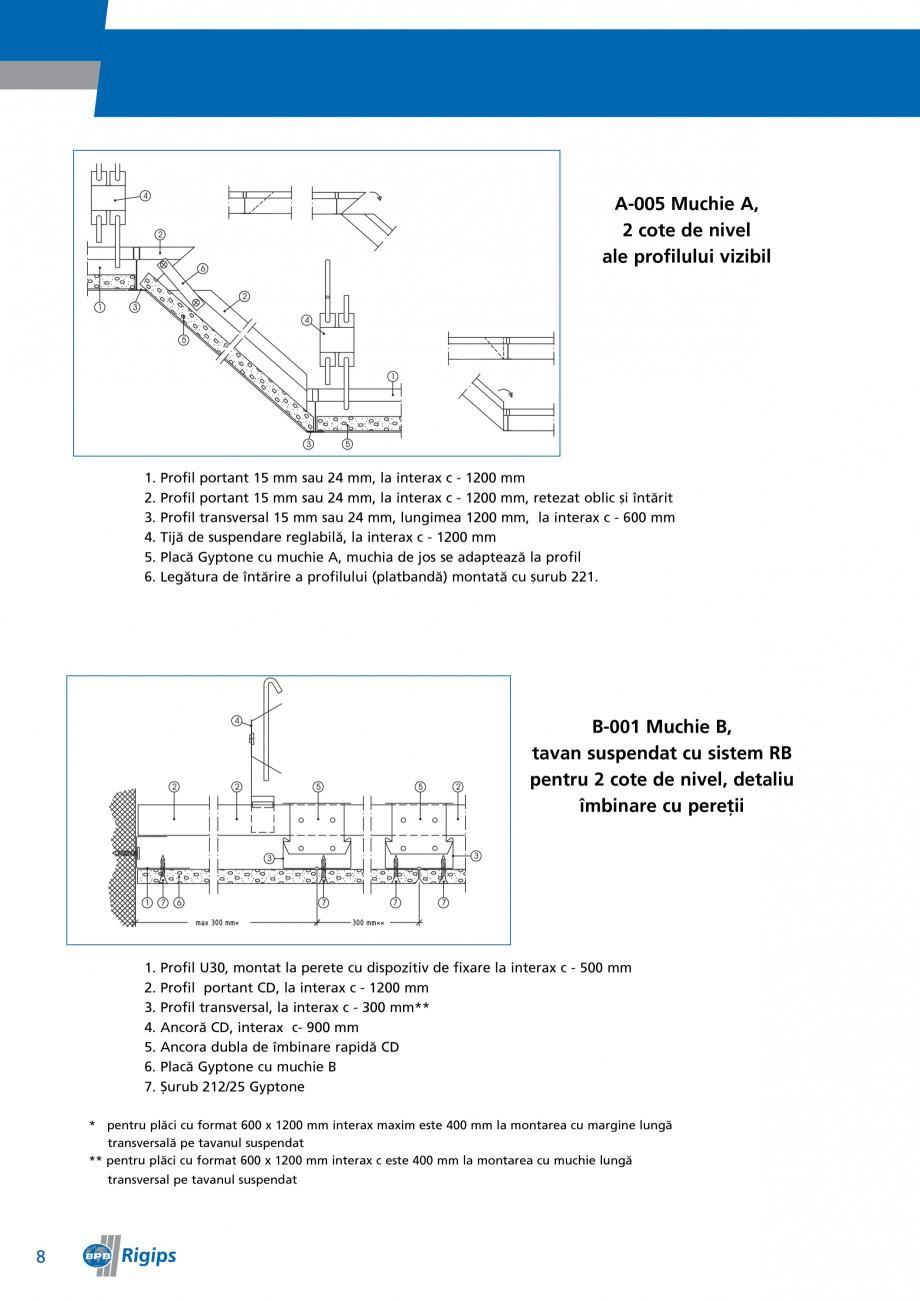 Pagina 8 - Detalii de montaj pentru plafoane casetate Saint-Gobain Rigips Gyptone Instructiuni...