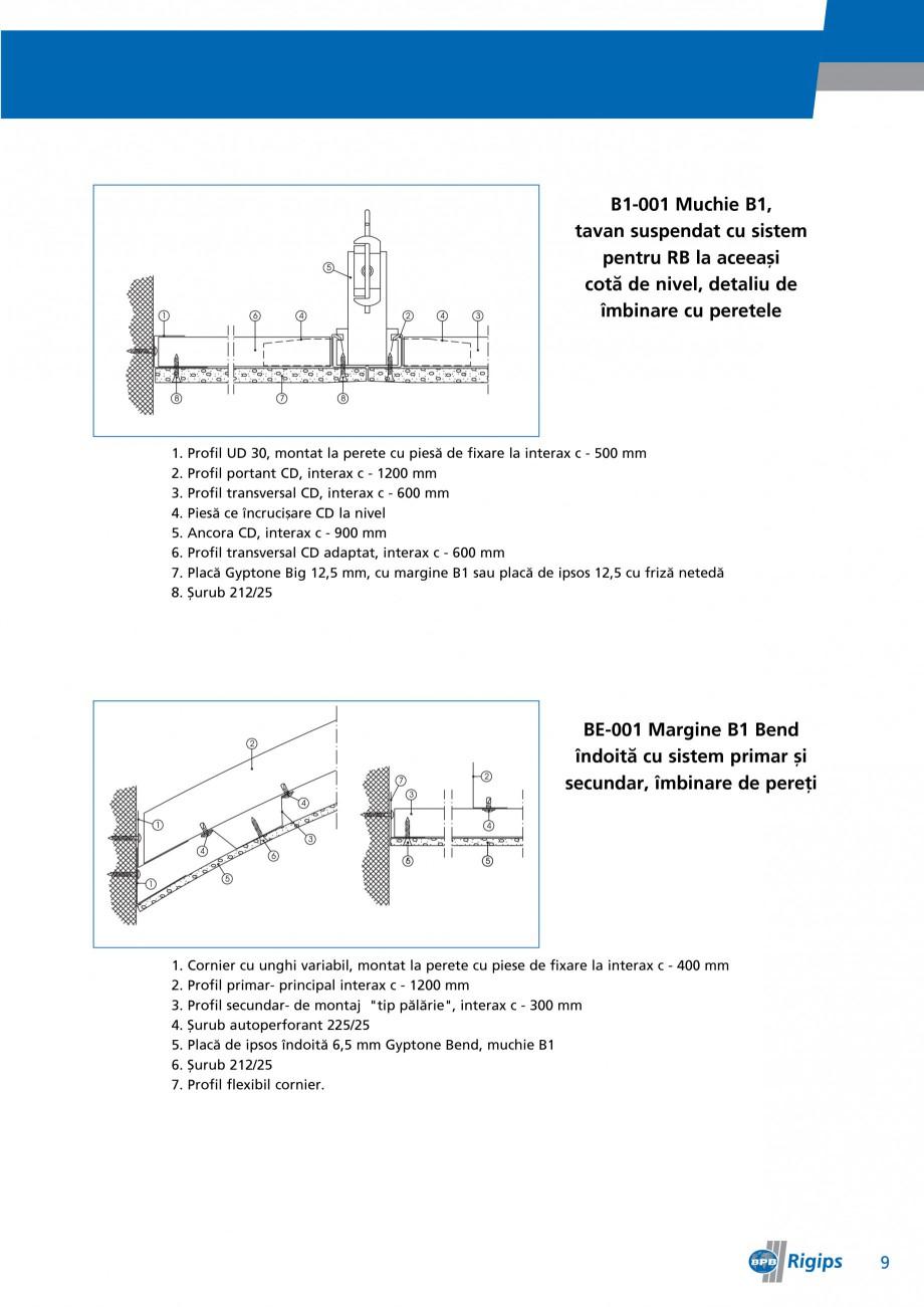 Pagina 9 - Detalii de montaj pentru plafoane casetate Saint-Gobain Rigips Gyptone Instructiuni...