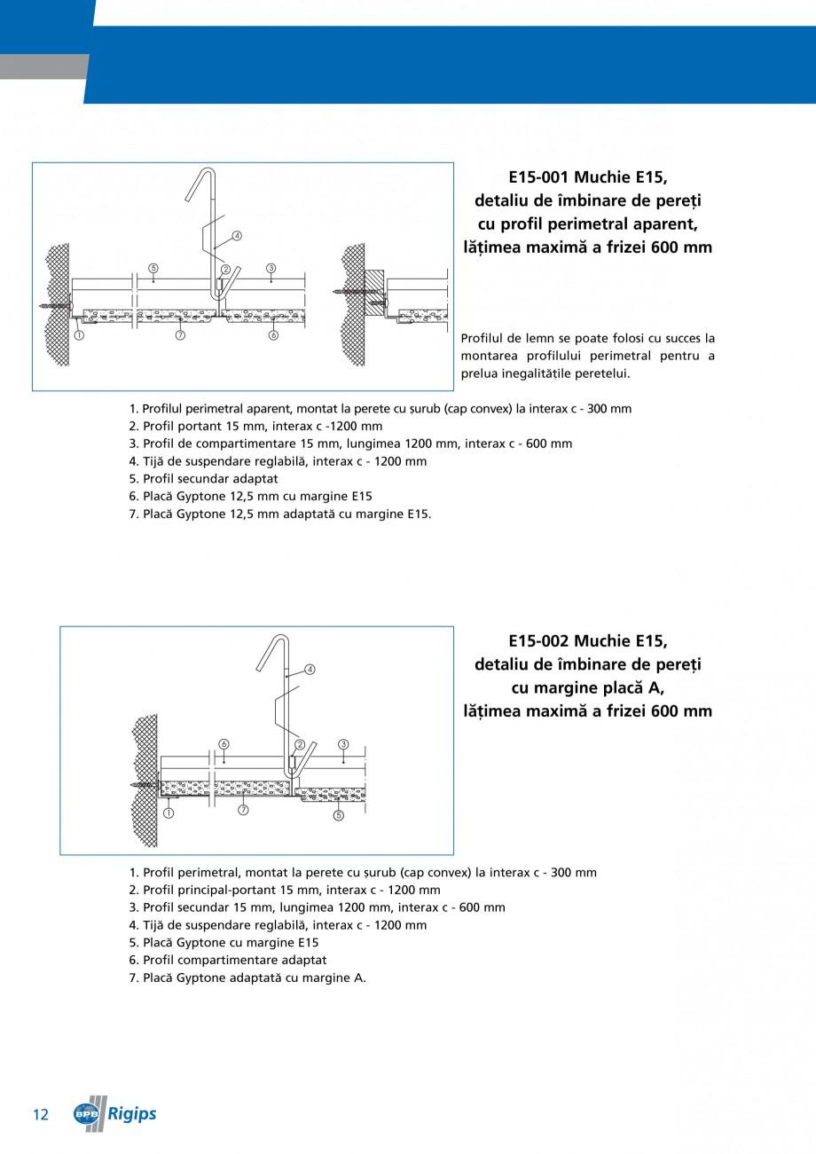 Pagina 12 - Detalii de montaj pentru plafoane casetate Saint-Gobain Rigips Gyptone Instructiuni...