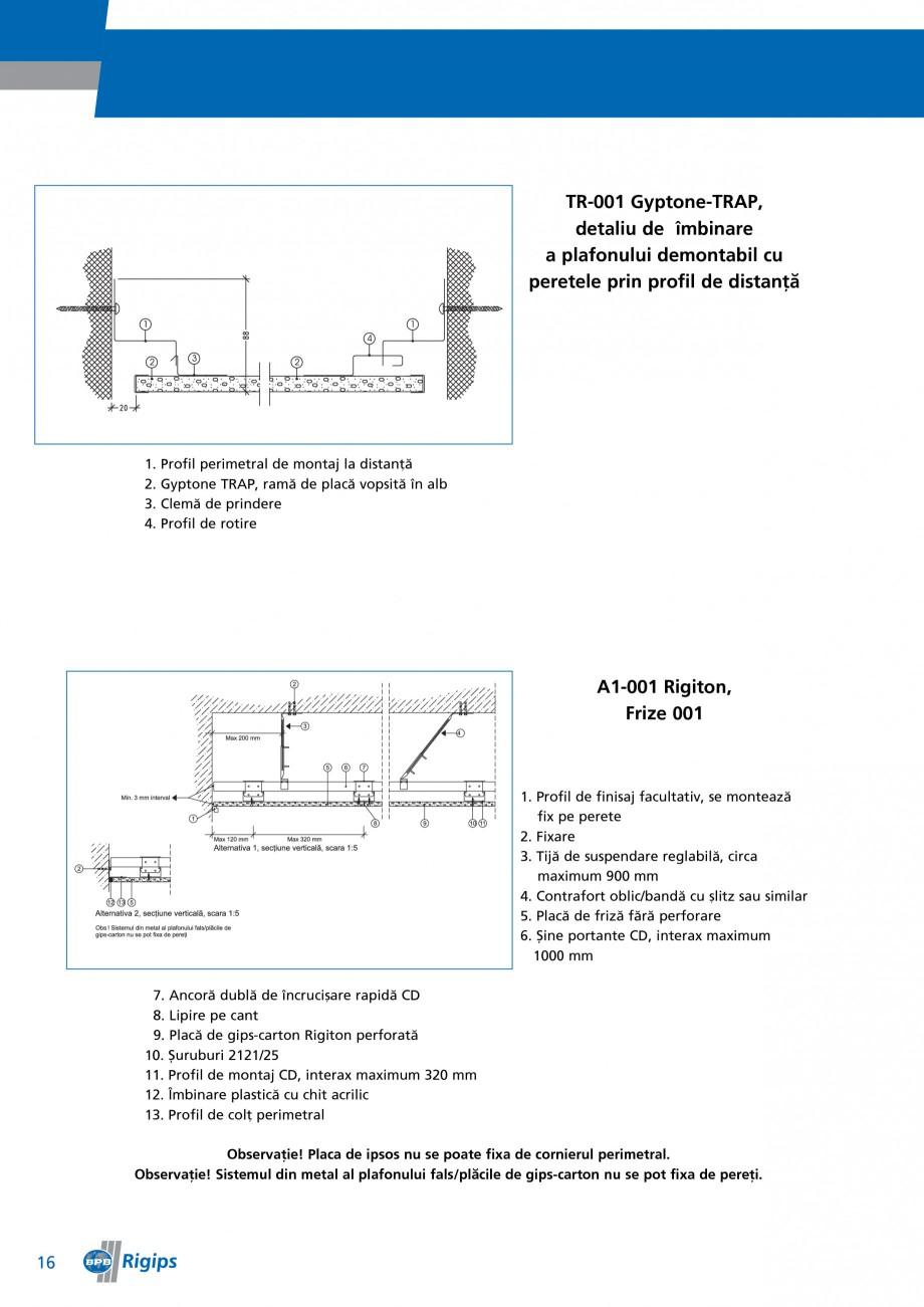 Pagina 16 - Detalii de montaj pentru plafoane casetate Saint-Gobain Rigips Gyptone Instructiuni...