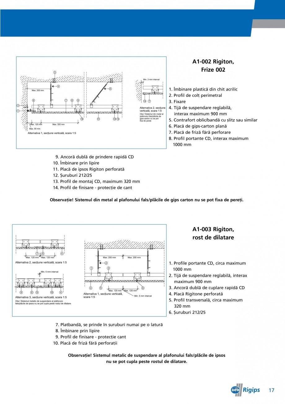 Pagina 17 - Detalii de montaj pentru plafoane casetate Saint-Gobain Rigips Gyptone Instructiuni...