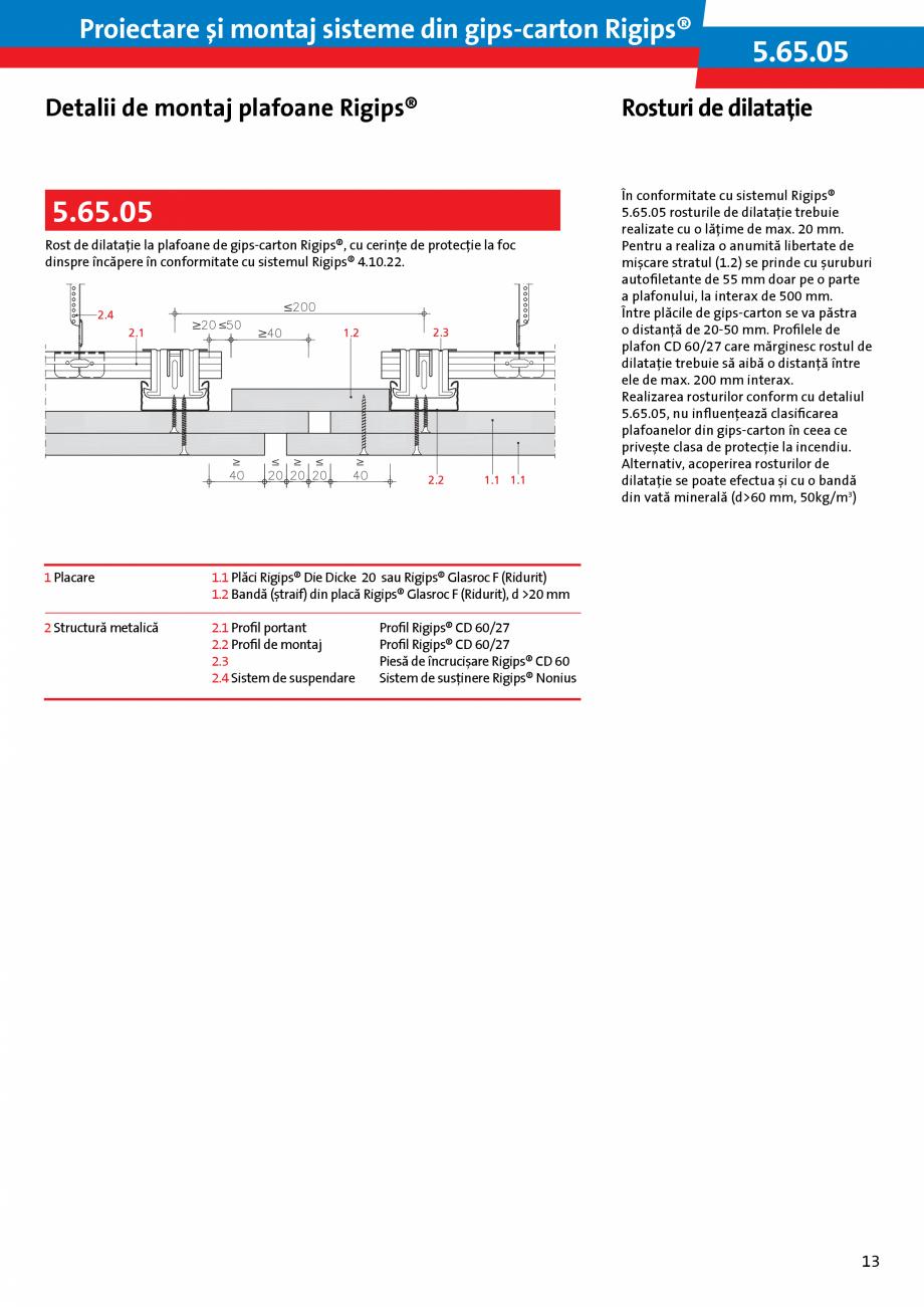 Pagina 13 - Proiectare si montaj sisteme din gips-carton - Plafoane Rigips Saint-Gobain Rigips...