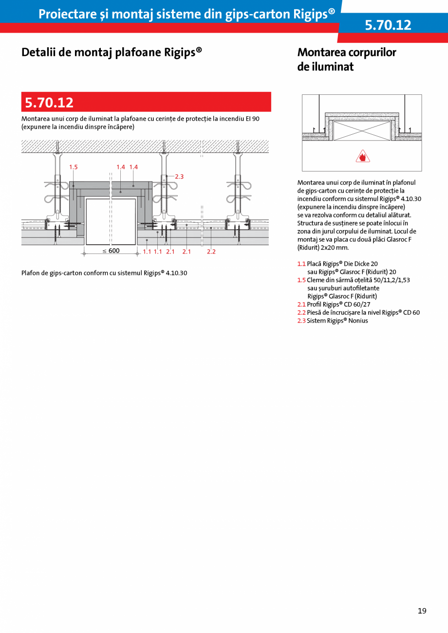Pagina 19 - Proiectare si montaj sisteme din gips-carton - Plafoane Rigips Saint-Gobain Rigips...