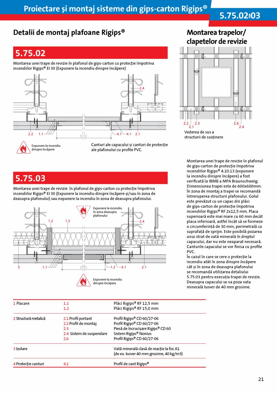 Pagina 21 - Proiectare si montaj sisteme din gips-carton - Plafoane Rigips Saint-Gobain Rigips...