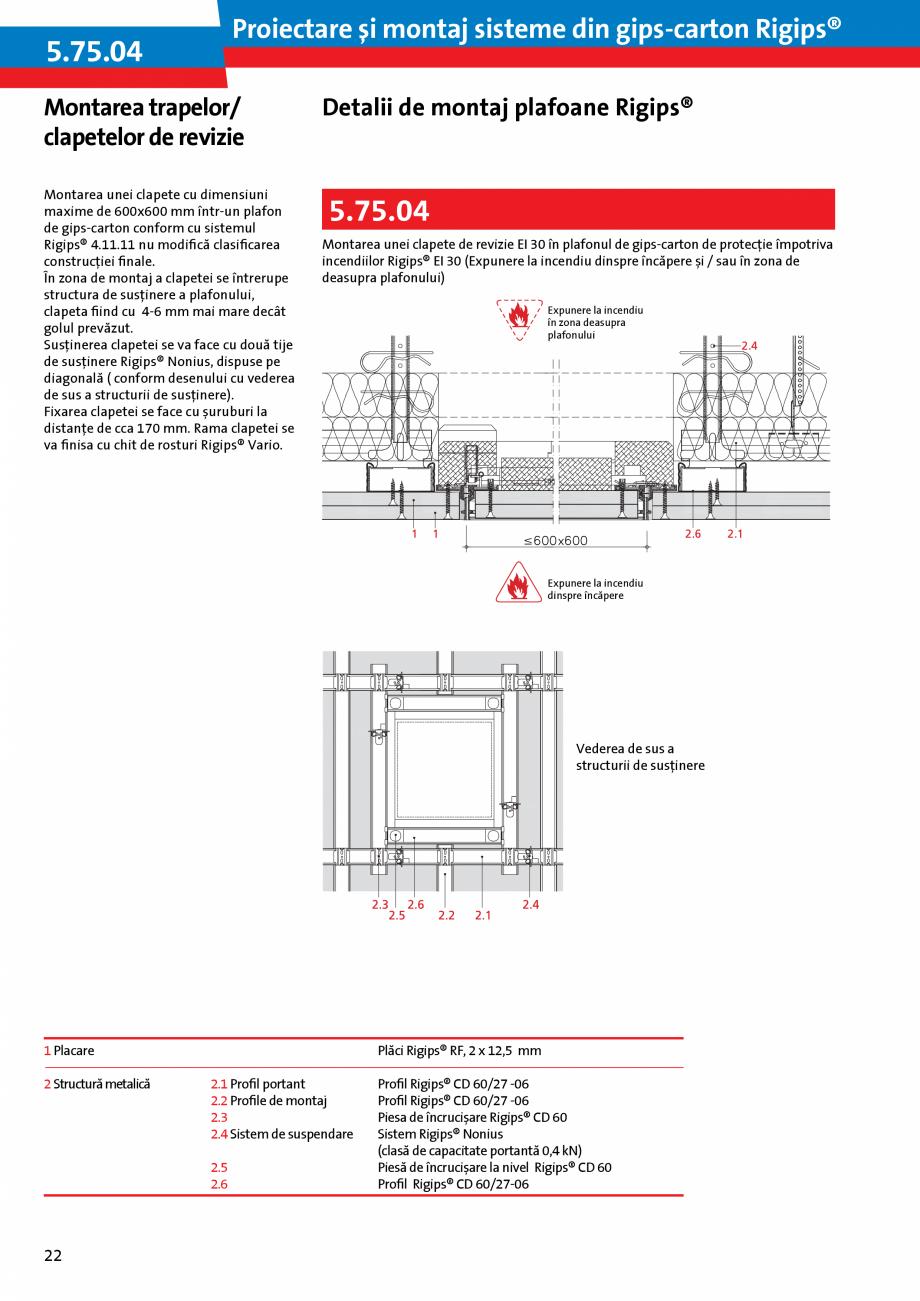 Pagina 22 - Proiectare si montaj sisteme din gips-carton - Plafoane Rigips Saint-Gobain Rigips...