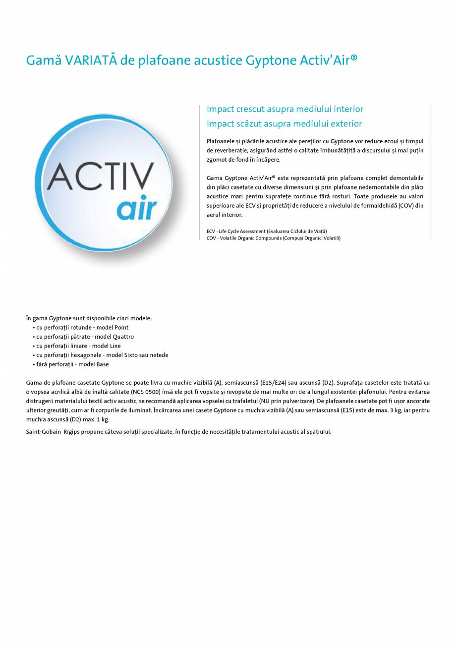 Pagina 4 - Confort acustic si aer curat in interior - GYPTONE Activ'Air® Saint-Gobain...
