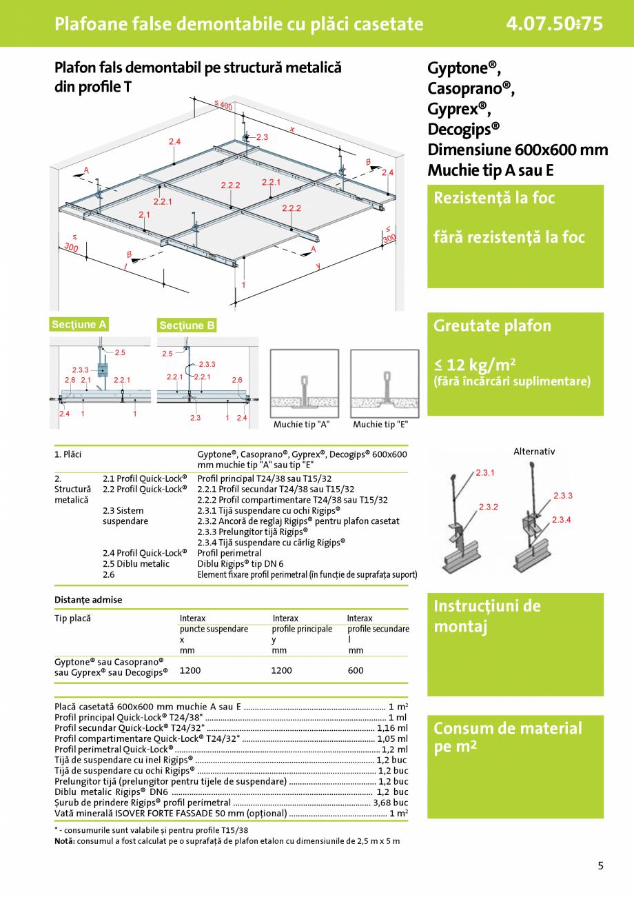 Pagina 1 - Plafoane false demontabile pe structura metalică din profile T cu placi casetate - 4.07....