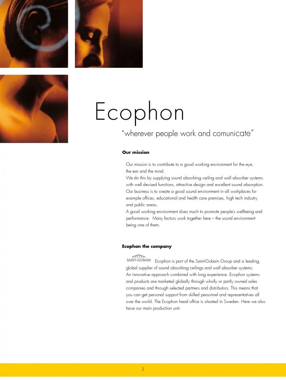 Pagina 2 - Plafoane casetate ECOPHON Ecophon Catalog, brosura Engleza stributors. This means that...