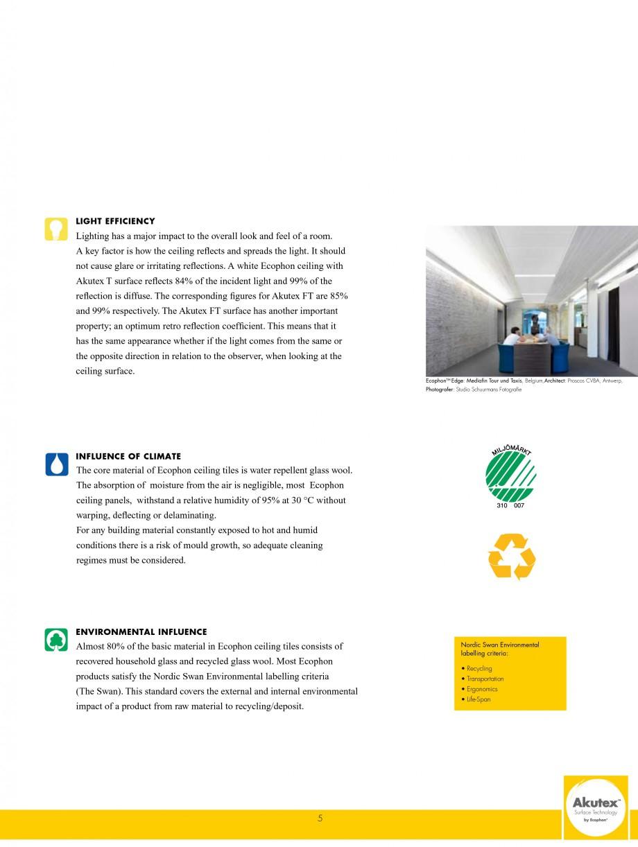 Pagina 5 - Plafoane casetate ECOPHON Ecophon Catalog, brosura Engleza ion class A has the highest...