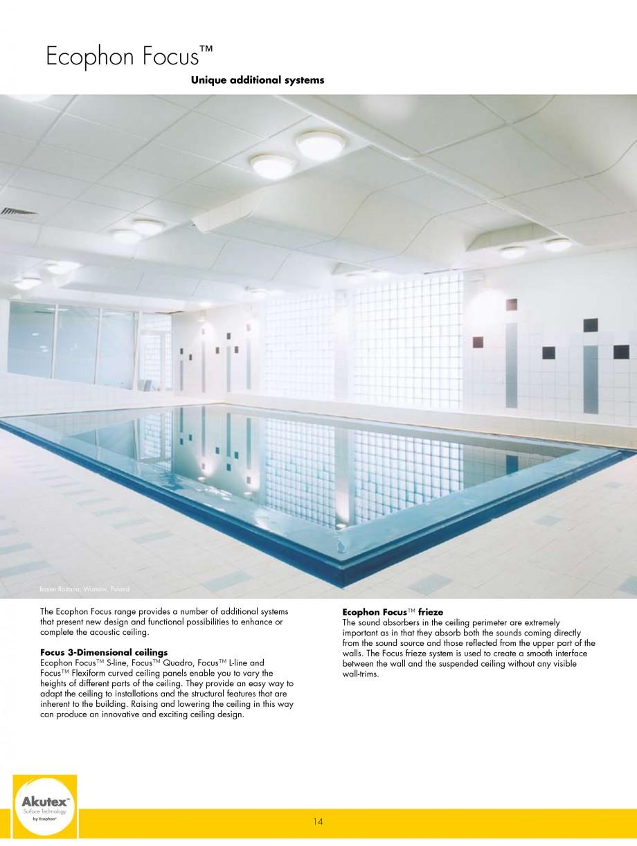 Pagina 14 - Plafoane casetate ECOPHON Ecophon Catalog, brosura Engleza  pool* Play and activity...