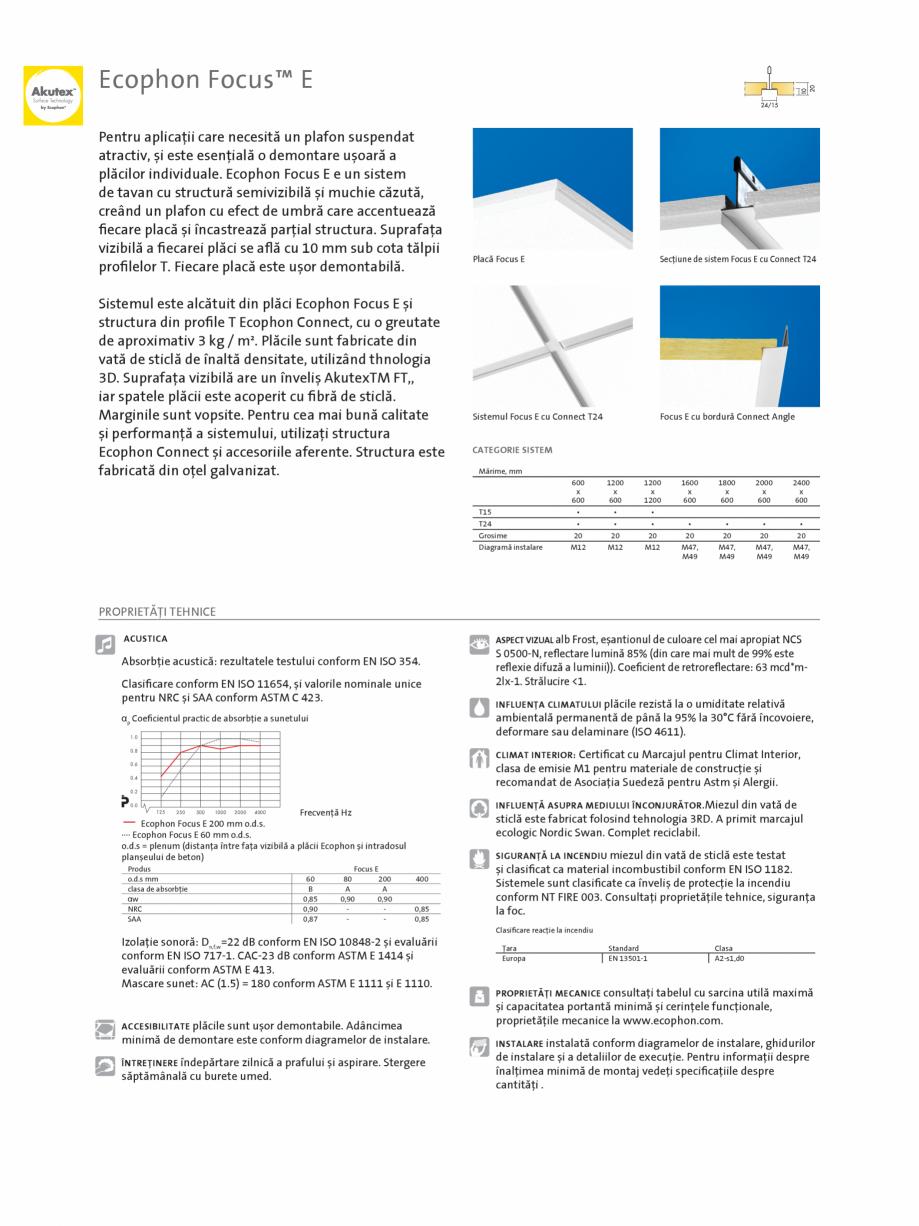 Pagina 1 - Plafon suspendat Ecophon Focus™ E ECOPHON Fisa tehnica Romana Ecophon Focus™ E...