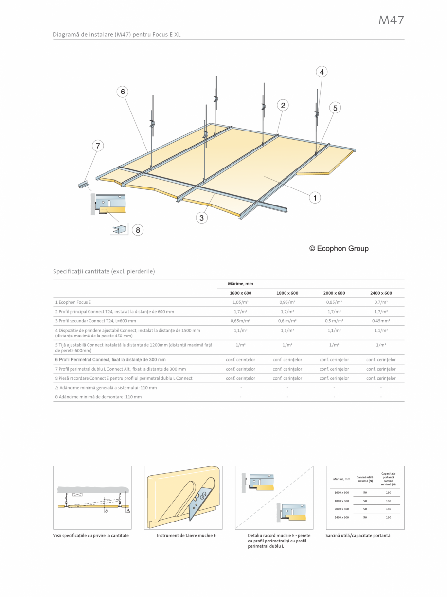 Pagina 3 - Plafon suspendat Ecophon Focus™ E ECOPHON Fisa tehnica Romana re (ISO 4611).  αp...